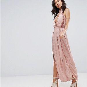 Missguided NWT plunge halter tie dye dress